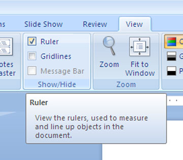 Check the ruler button from the view tab at the top of the screen if