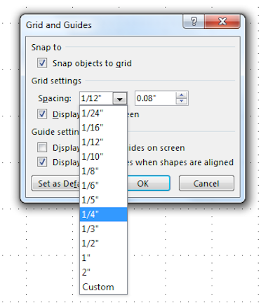 how to change ruler snap to grid settings in word